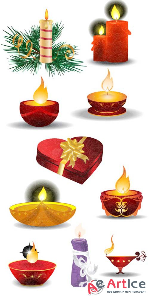 Christmas vector candles - Stock Vector