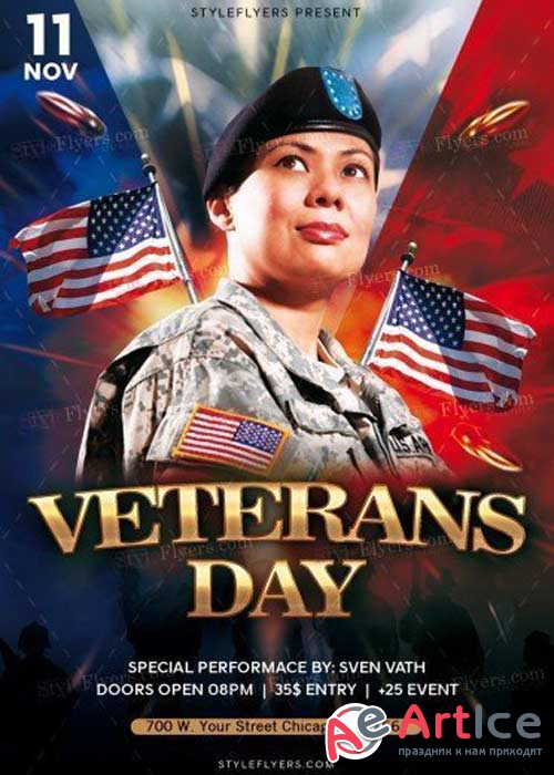 Veterans Day V22 PSD Flyer Template
