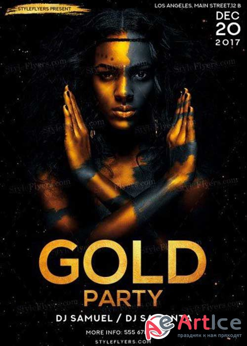 Gold Party V29 PSD Flyer Template