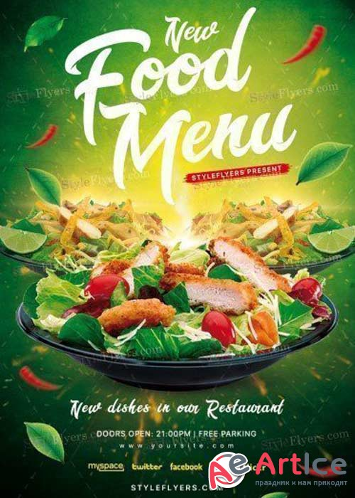 Food Menu PSD V15  Flyer Template