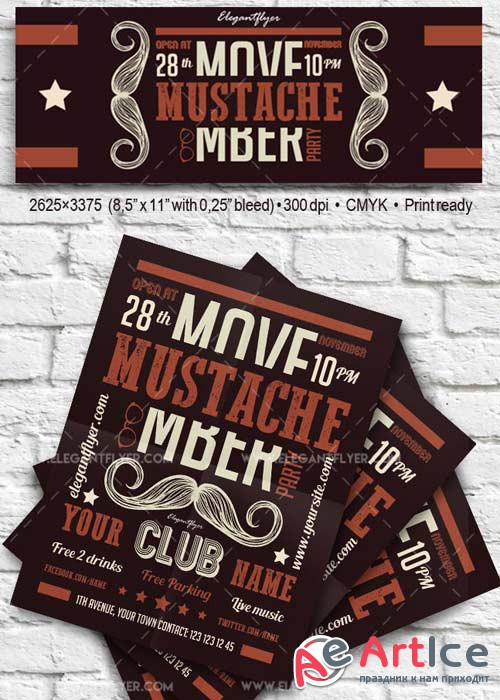 Mustache Party V2 Flyer PSD Template + Facebook Cover