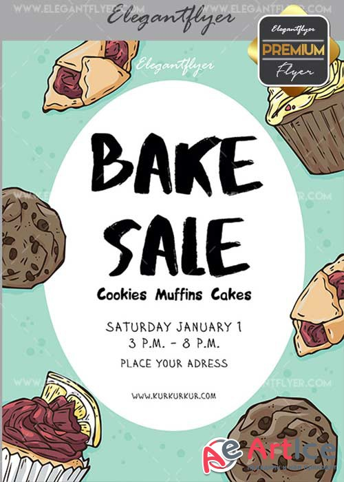 Bake Sale V32 Flyer PSD Template + Facebook Cover