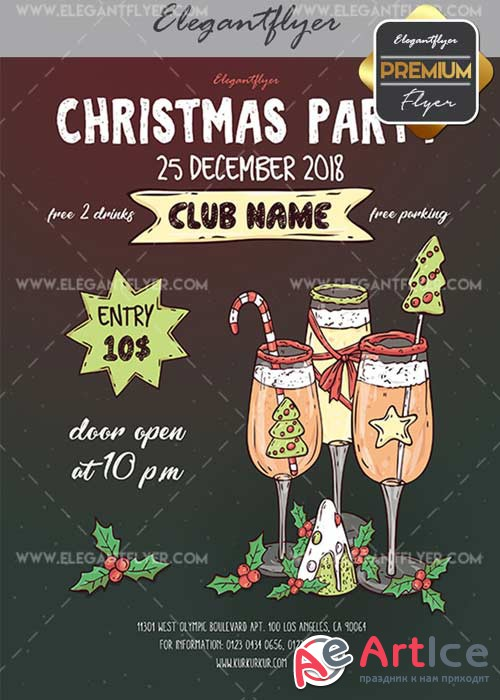 Christmas Party V22 Flyer PSD Template + Facebook Cover