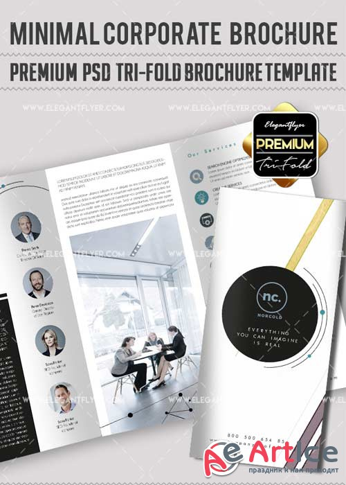 Minimal Corporate V14 Premium Tri-Fold PSD Brochure Template