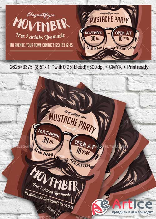 Movember Mustache Party V11 Flyer PSD Template + Facebook Cover