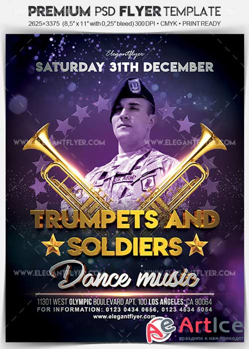Trumpets and Soldiers V1 Flyer PSD Template + Facebook Cover