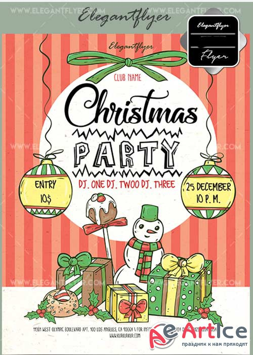 Christmas Party V28 2017 Flyer PSD Template + Facebook Cover