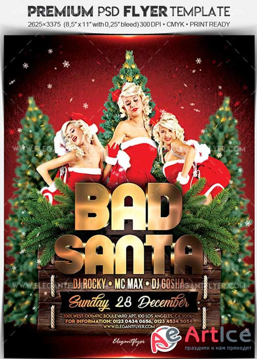 Bad Santa Party V1 2017 Flyer PSD Template + Facebook Cover