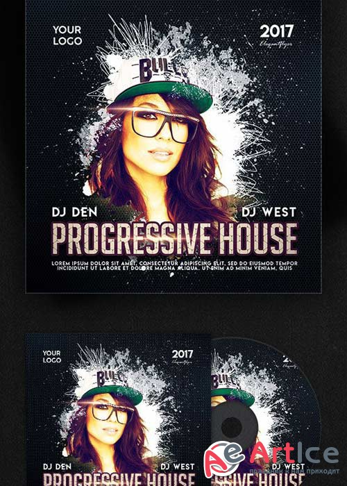 Progressive House V3 Premium CD Cover PSD Template