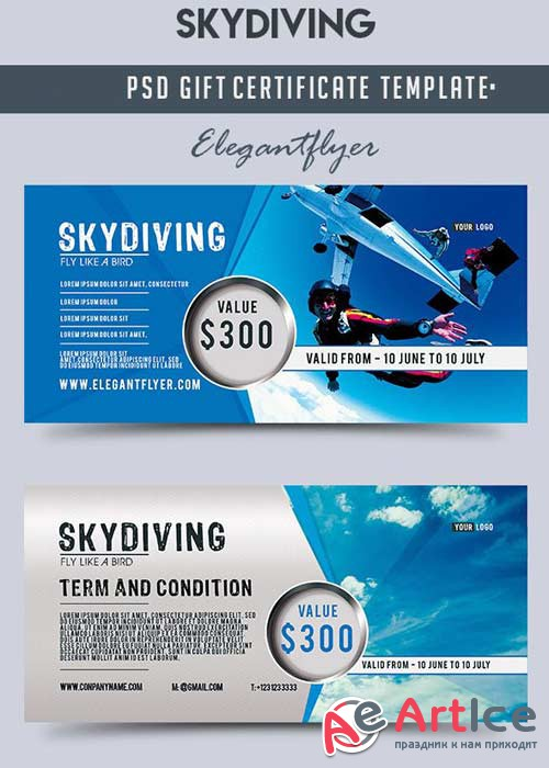 Skydiving v1 Gift Certificate PSD Template