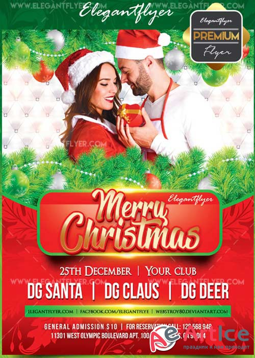 Merry Christmas V55 2017 Flyer PSD Template + Facebook Cover