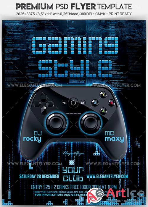 Gaming Style V1 Flyer PSD Template + Facebook Cover
