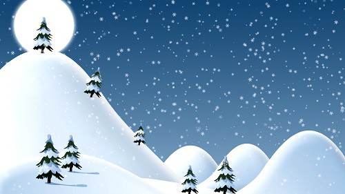 Christmas snow covered hills with trees night