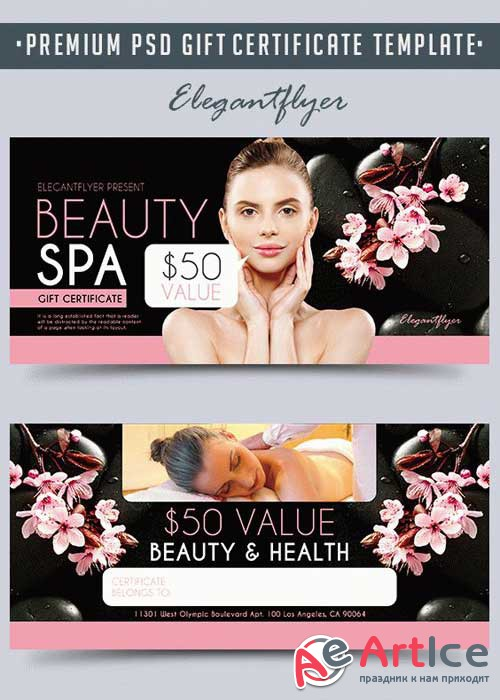 Beauty Spa V3 Premium Gift Certificate PSD Template