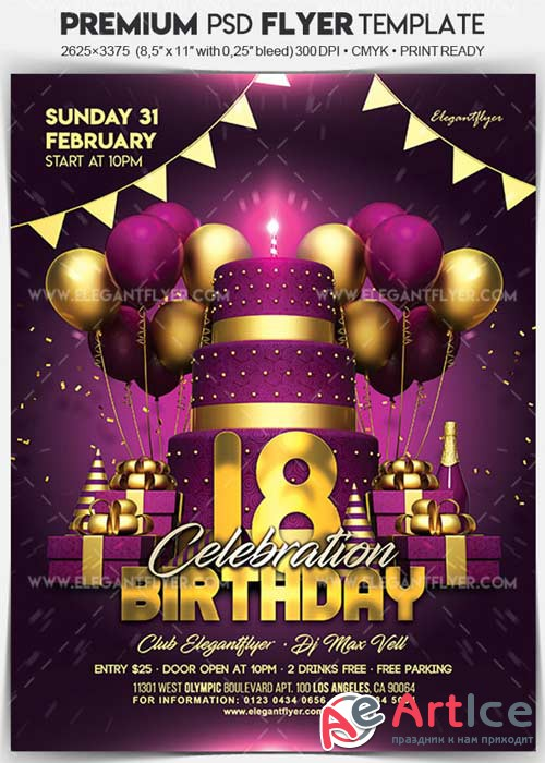 Birthday Celebration V3 2018 Flyer PSD Template + Facebook Cover