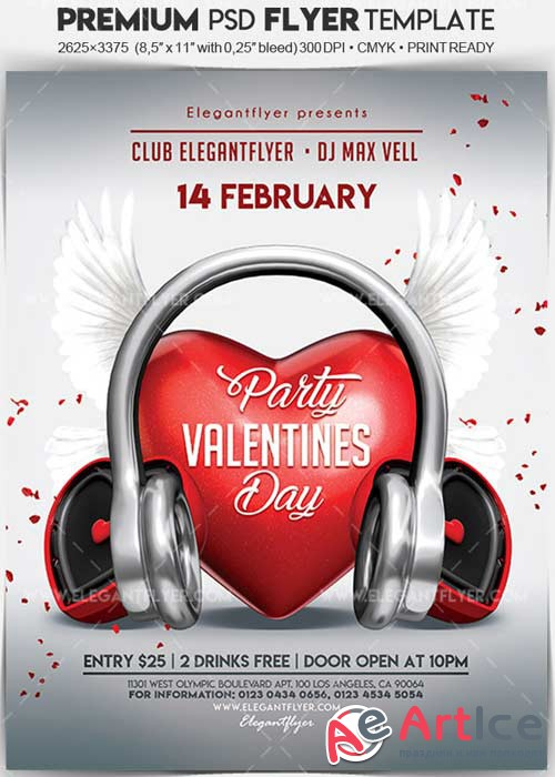 Valentines Day Party V02 2018 Flyer PSD Template + Facebook Cover