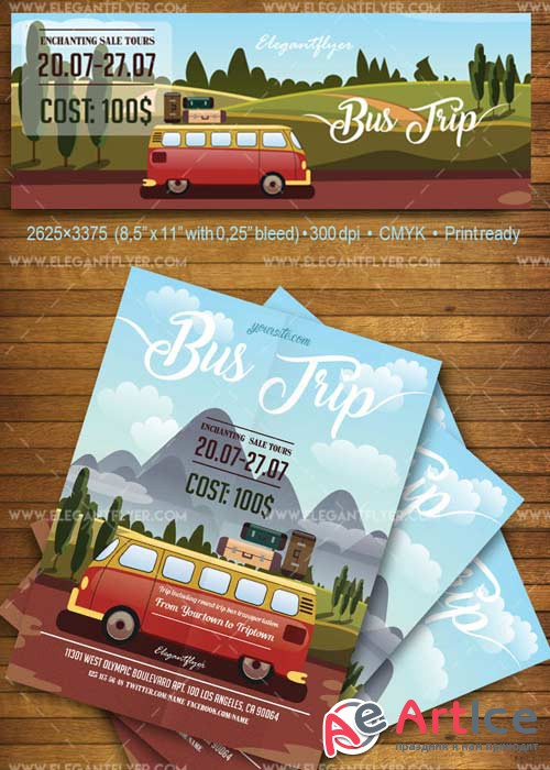 Bus Trip V1 2018 Flyer PSD Template + Facebook Cover