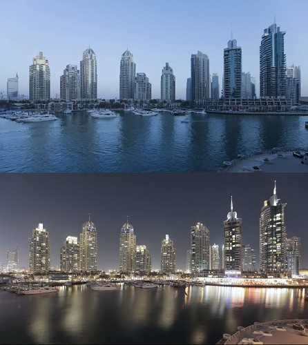 Dusk to night time lapse transition of dubai marina a modern development se