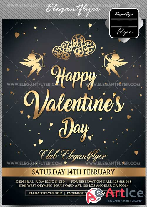 Valentine Day V15 Flyer PSD Template + Facebook Cover