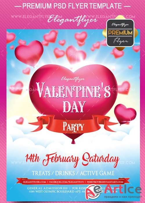 Valentine Day party V13 Flyer PSD Template + Facebook Cover