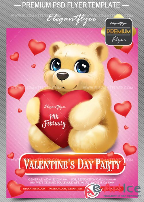 Valentine Day V19 Flyer PSD Template + Facebook Cover