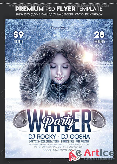 Winter Party 2018 V1 Flyer PSD Template + Facebook Cover