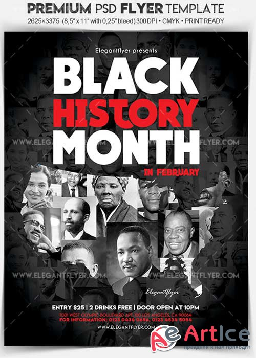 Black History Month V1 2018 Flyer PSD Template + Facebook Cover