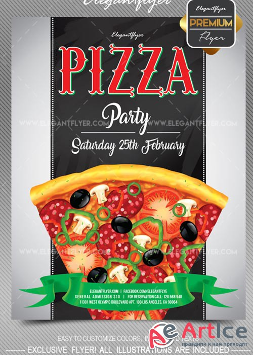 Pizza party V1 2018 Flyer PSD Template + Facebook Cover