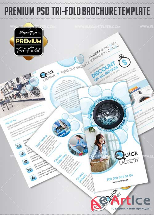 Laundry Services V1 2018 Premium Tri-Fold PSD Brochure Template