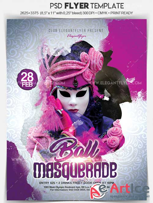 Masquerade Ball V12 Flyer PSD Template + Facebook Cover