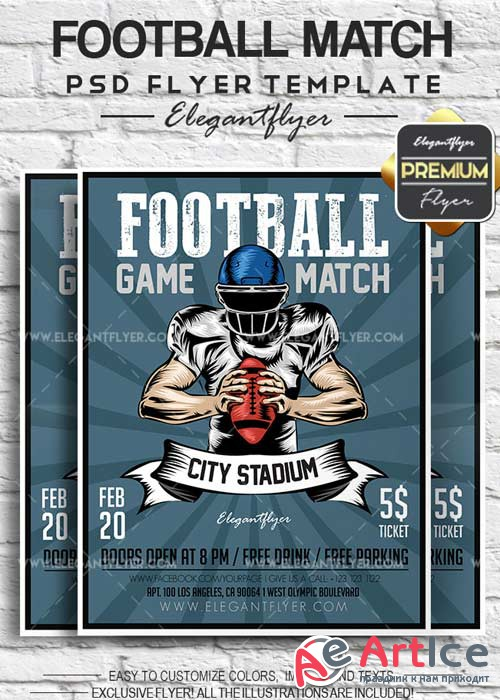 Football Match V1 2018 Flyer PSD Template + Facebook Cover