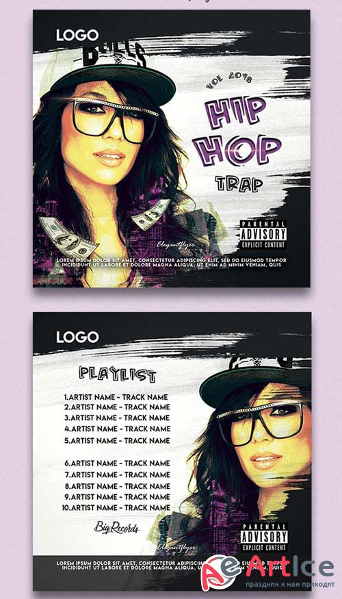 Hip-Hop Trap V1 2018 CD Cover PSD Template