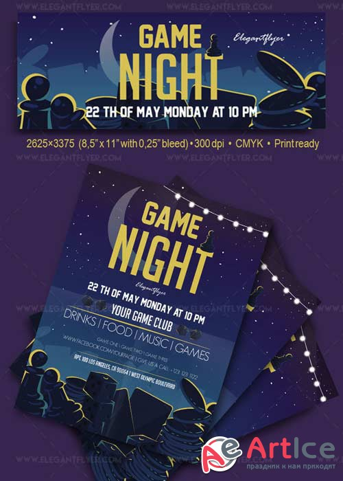 Game Night V1 2018 Flyer PSD Template + Facebook Cover
