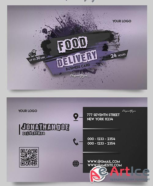 Food Delivery V2 2018 Business Card Templates PSD