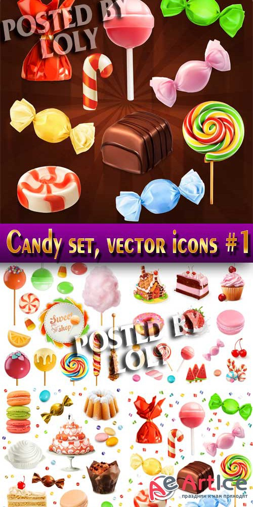 Candy set, vector icons #1 - Stock Vector