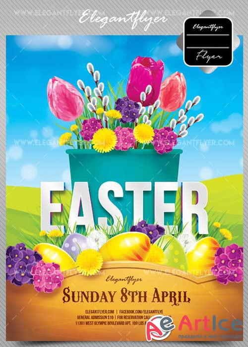 Easter V2 2018 Flyer PSD Template + Facebook Cover