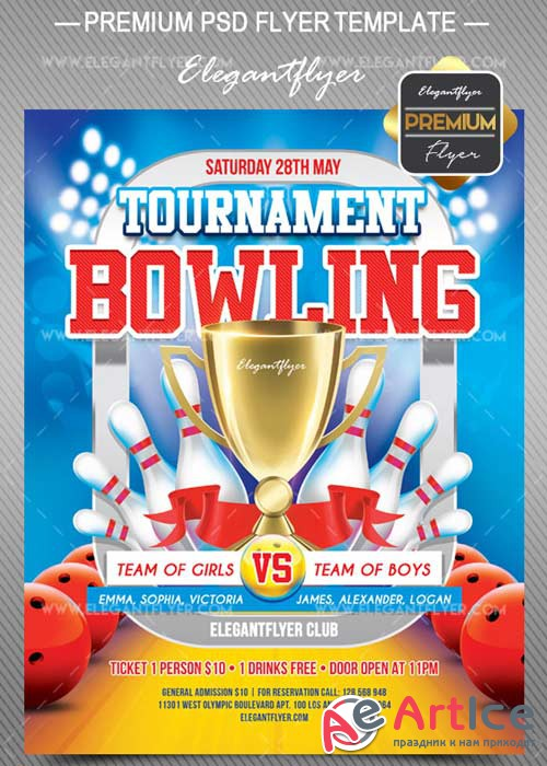 Bowling Tournament V9 2018 Flyer PSD Template + Facebook Cover