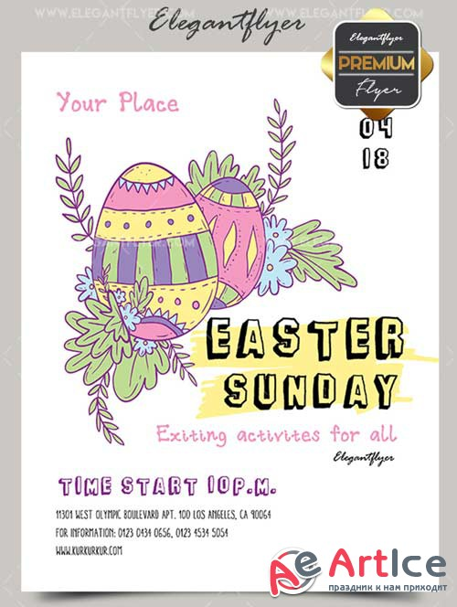 Easter Sunday V7 2018 Premium Flyer PSD Template + Facebook Cover