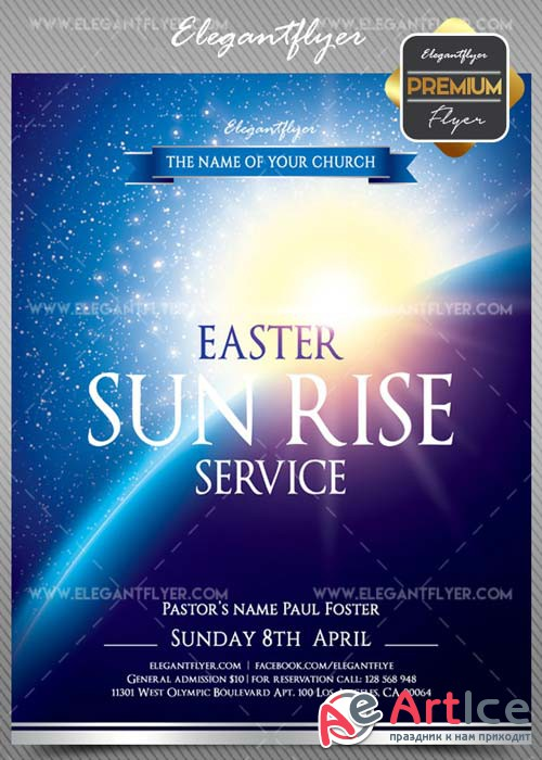 Easter Sun Rise Service V1 2018 Premium Flyer PSD Template + Facebook Cover