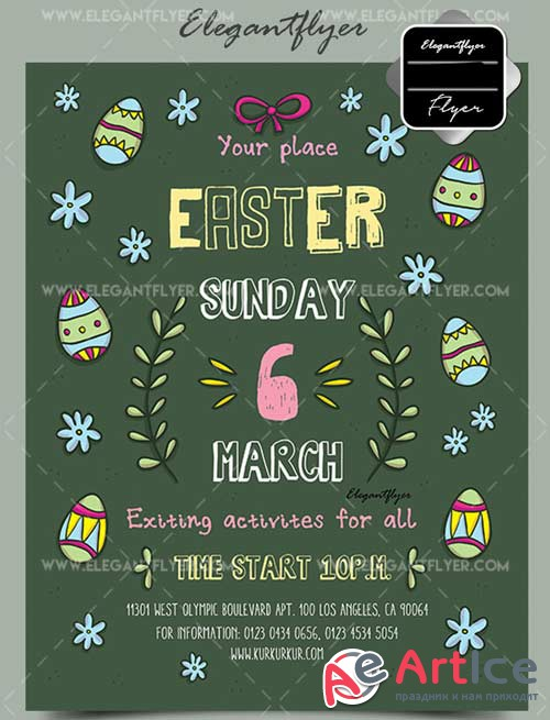 Easter V16 Flyer PSD Template + Facebook Cover