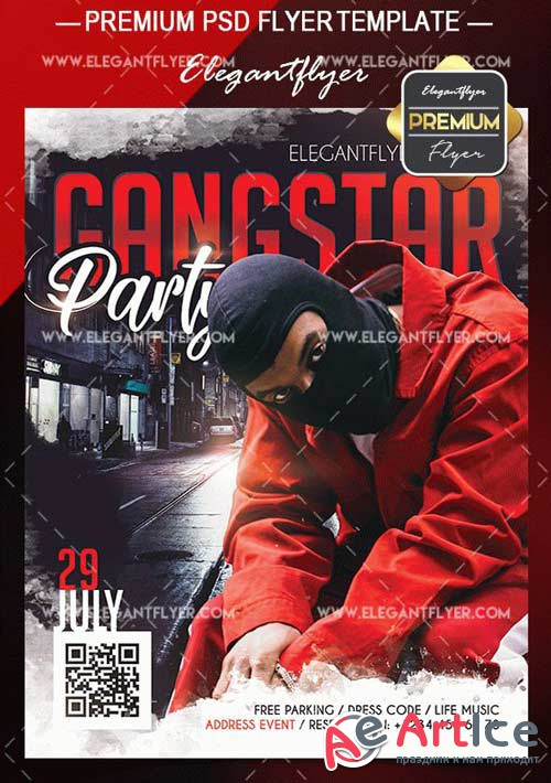 Gangstar Party V1 2018 Flyer PSD Template + Facebook Event Page