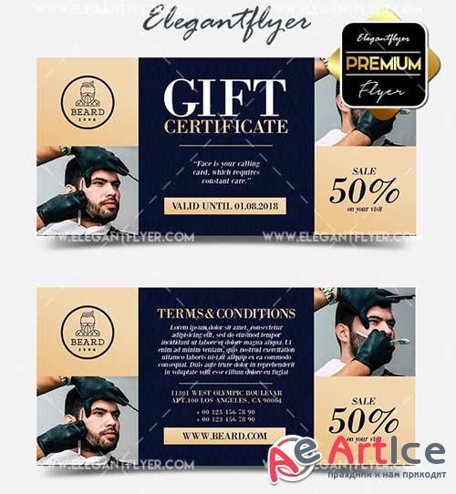 Barbershop V7 2018 Gift Certificate PSD Template