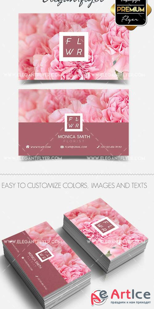 Flower Shop V1 2018 Business Card Templates PSD