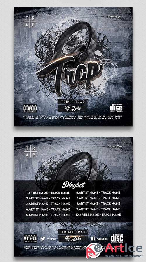 Trible Trap V1 2018 CD Cover PSD Template