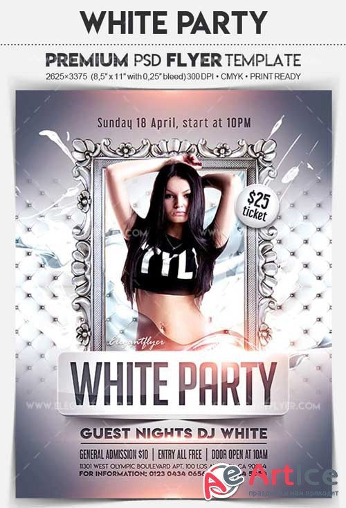 White Party V11 2018 Flyer PSD Template