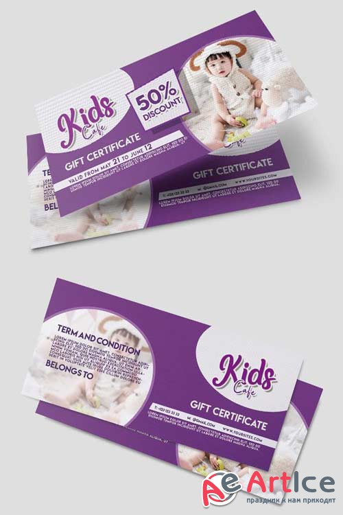 Kids Cafe V5 2018 Gift Certificate PSD Template