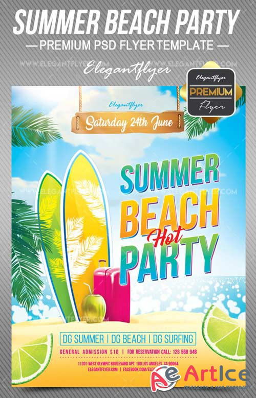 Summer Beach Party V6 2018 Flyer PSD Template