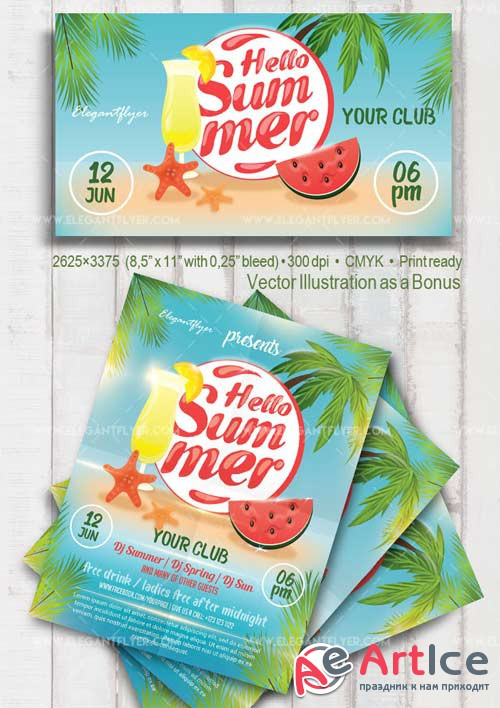 Hello Summer V1 2018 Flyer PSD Template