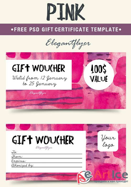 Pink V1 2018 Gift Certificate PSD Template