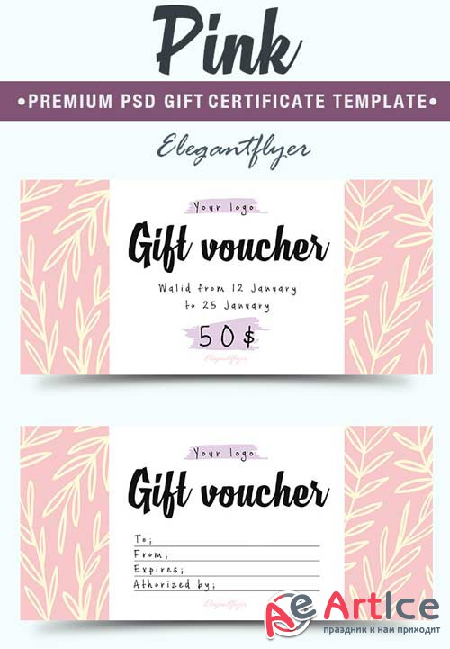 Pink V3 2018 Premium Gift Certificate PSD Template